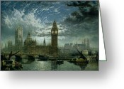 Central Painting Greeting Cards - A View of Westminster Abbey and the Houses of Parliament Greeting Card by John MacVicar Anderson
