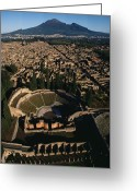 Of Buildings Greeting Cards - A View Over Pompeii Toward Mount Greeting Card by O. Louis Mazzatenta