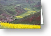 World Culture Greeting Cards - A Village Nestled In A Valley Greeting Card by David Evans