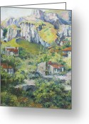 Canvas Greeting Cards - A village nestled in the foothills Greeting Card by Tigran Ghulyan
