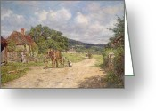 Villagers Greeting Cards - A Village Scene Greeting Card by James Charles