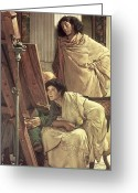 Easel Greeting Cards - A Visit to the Studio Greeting Card by Sir Lawrence Alma-Tadema