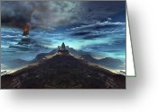 Incline Digital Art Greeting Cards - A Volcano Erupts Near An Ancient Mayan Greeting Card by Corey Ford
