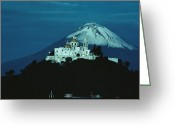 Puebla Greeting Cards - A Volcano Stands Beyond A Church Built Greeting Card by Sisse Brimberg