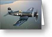 Old Person Greeting Cards - A Vought F4u-5 Corsair In Flight Greeting Card by Scott Germain