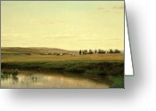 Hudson River School Greeting Cards - A Wagon Train on the Plains Greeting Card by Thomas Worthington Whittredge