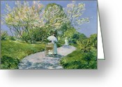 Pram Greeting Cards - A Walk in the Park Greeting Card by Childe Hassam