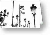 Puerto Rico Drawings Greeting Cards - A walk Through Old San Juan Greeting Card by Angel Serrano