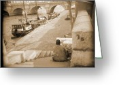 Bricks Greeting Cards - A Walk Through Paris 1 Greeting Card by Mike McGlothlen