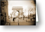 Sepia Greeting Cards - A Walk Through Paris 3 Greeting Card by Mike McGlothlen