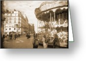 Square Digital Art Greeting Cards - A Walk Through Paris 4 Greeting Card by Mike McGlothlen