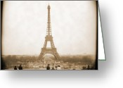 Sepia Greeting Cards - A Walk Through Paris 5 Greeting Card by Mike McGlothlen