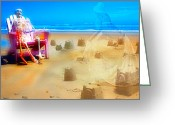 Sandcastle Greeting Cards - A Walk Through the Castles Greeting Card by East Coast Barrier Islands Betsy A Cutler