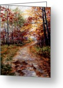 Oak Pastels Greeting Cards - A Walk To Remember Greeting Card by Mary Giacomini