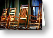 Rocking Chairs Greeting Cards - A Warm Beauvoir Welcome Greeting Card by Carol Groenen