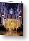 Washington Cathedral Greeting Cards - A Wedding Ceremony At The High Altar Greeting Card by Rex A. Stucky