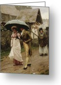 Britain Painting Greeting Cards - A Wet Sunday Morning Greeting Card by Edmund Blair Leighton
