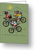 Bear Drawings Greeting Cards - A Wild Bike Ride Greeting Card by Renee Womack