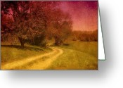 Sunset Scenes. Digital Art Greeting Cards - A Winding Road - Bayonet Farm Greeting Card by Angie McKenzie