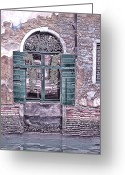 Places In Venice.venecia.venezia.venice Greeting Cards - A Window in Venice Greeting Card by Tom Prendergast