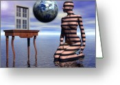 Surrealist Digital Art Greeting Cards - A Window into the Virtual Reflection of the Anima Greeting Card by Jon Gemma In Your Living Room