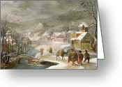 Van Painting Greeting Cards - A Winter Landscape with Travellers on a Path Greeting Card by Denys van Alsloot