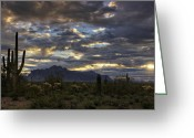 The Supes Greeting Cards - A Winter Sunrise in the Desert  Greeting Card by Saija  Lehtonen
