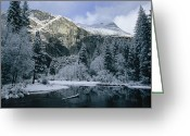 River Scenes Greeting Cards - A Winter View Of The Merced River Greeting Card by Marc Moritsch