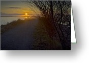 Minard Greeting Cards - A winter walk Greeting Card by Vern Minard