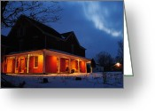 Marvelous Greeting Cards - A Winters Eve Greeting Card by Robert Harmon