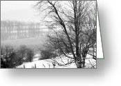 Winter Trees Greeting Cards - A Wintry Day Greeting Card by Gerlinde Keating - Keating Associates Inc