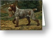 Pointing Greeting Cards - A Wire-haired Pointing Griffon Holds Greeting Card by Walter A. Weber