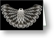 Lacy Fractal Greeting Cards - A Wise Old Owl Greeting Card by Andee Photography