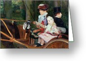 Cassatt Greeting Cards - A woman and child in the driving seat Greeting Card by Mary Stevenson Cassatt