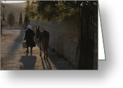 Latium Region Greeting Cards - A Woman And Her Donkey Walk Greeting Card by Tino Soriano