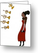 Hair Bun Greeting Cards - A Woman Behind A Row Of Trumpets Greeting Card by David Barneda