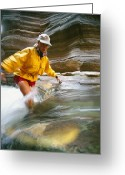 Hikers And Hiking Photo Greeting Cards - A Woman Fords A Fast Moving Stream Greeting Card by David Edwards