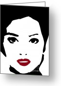 Face Drawings Greeting Cards - A woman in fashion Greeting Card by Frank Tschakert