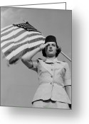 United We Stand Greeting Cards - A Woman In The Air Force Officer Greeting Card by Stocktrek Images