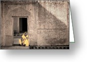 Mostafa Moftah Greeting Cards - A Woman in Yellow Dress Greeting Card by Mostafa Moftah