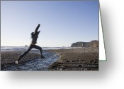 Surf Silhouette Greeting Cards - A Woman Jumps A Stream In Olympic Greeting Card by Taylor S. Kennedy