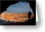 Silhouettes Greeting Cards - A Woman Looks Out At The Bryce Greeting Card by Taylor S. Kennedy