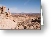Grand Staircase - Escalante National Monument Greeting Cards - A Woman Looks Out At The View Greeting Card by Taylor S. Kennedy