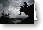 Silhouettes Greeting Cards - A Woman Perched On An Overlook Greeting Card by Lynn Johnson