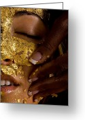 Humans Greeting Cards - A Woman Receiving A Gold Facial Greeting Card by Randy Olson