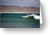 Close Views Greeting Cards - A Woman Surfing A Longboard Greeting Card by Tim Davis