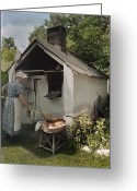 Pennsylvania Dutch Greeting Cards - A Woman Takes Bread From An Outdoor Greeting Card by J. Baylor Roberts