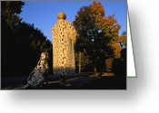 Autumn Photographs Greeting Cards - A Woman Wears A Fake Fur On A Walk Greeting Card by Joel Sartore