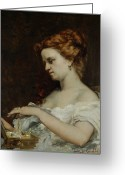 Pearls Greeting Cards - A Woman with Jewellery Greeting Card by Gustave Courbet