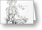 Expressive Drawings Greeting Cards - A Word to the Wise Greeting Card by Mark Johnson
